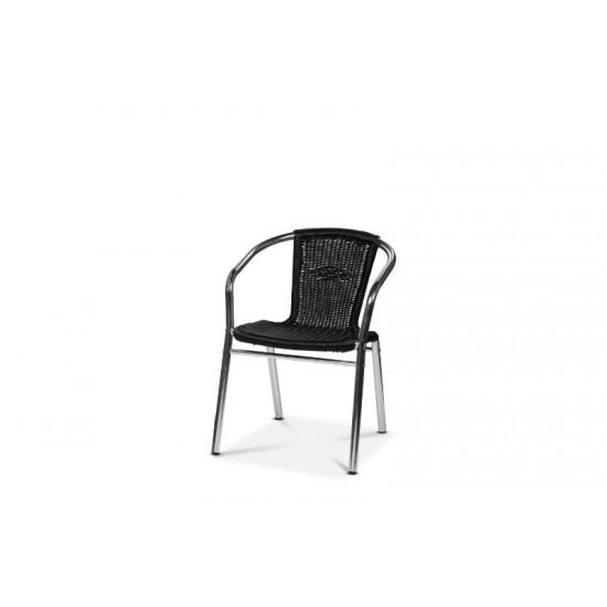 Alu-Bistro karmstol, svart