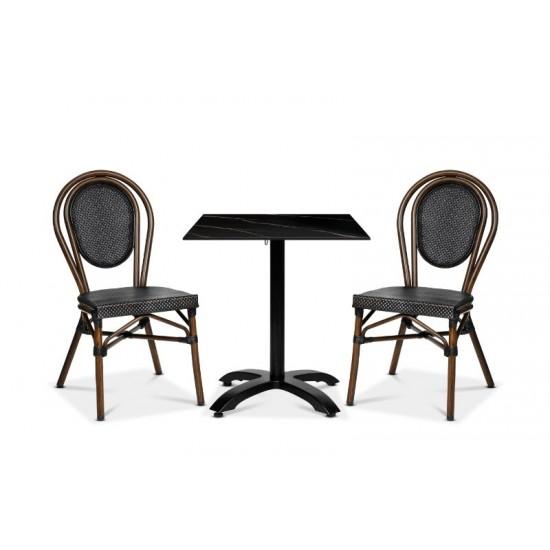 Rennes stol, brun/svart textylene