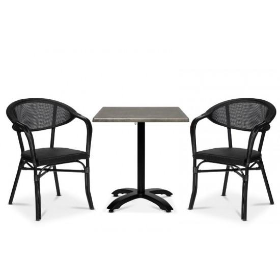 Monaco karmstol, svart/svart
