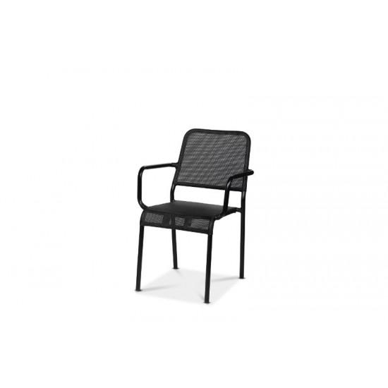 Nice karmstol, svart/svart textilene